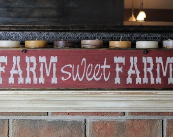wooden sign, quote sign, farm sweet farm, country rustic, wall hanging