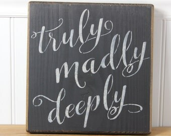 wooden sign, truly madly deeply, subway art, wedding sign, wedding gift, anniversary