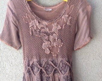 Vintage 80s  Italian   Batik   Boho  Hippie Dress  with Lace Detailing