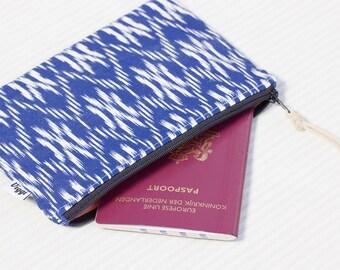 Blue cosmetic case, ikat zip pouch, makeup bag