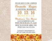 Autumn Floral Invitations - Floral Bridal Shower Printable Invitations - Orange Floral Printable Birthday Invitations