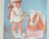 1970s Vintage Happy Birthday Card Nurse Doll & Fluffy Toy