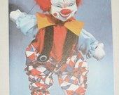 1970s Vintage Happy Birthday Card White Scary Clown IT