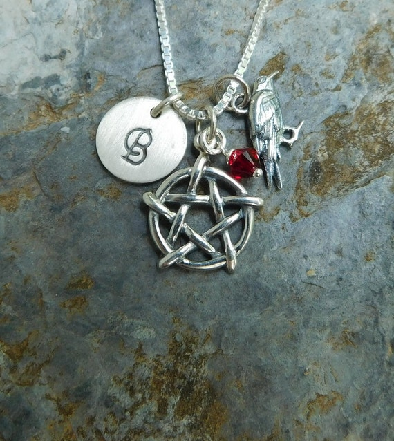 Sterling silver pentagram necklace, pagan necklace, celtic jewelry, personalized jewelry, Wicca jewelry