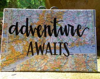 Adventure Awaits Map Wood Sign