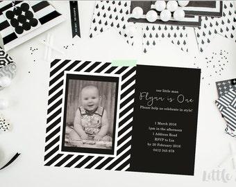 Monochrome Invitation. 1st birthday. Birthday Invitation. Monochrome Birthday Invitation. Black and White. Boy Invitation. Printable