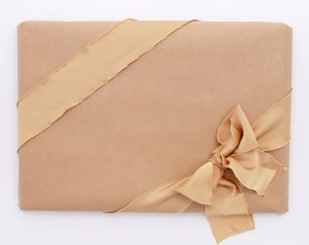 """Gold Ribbon. 2"""" Wide Luxury Ribbon. Hand Torn and Frayed Gold Satin Ribbon Bundle. 1.4 Meter Lengths. Bouquet Ribbons. Christmas Gift Wrap"""