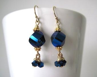 blue earrings.  midnight blue chinese crystal earrings