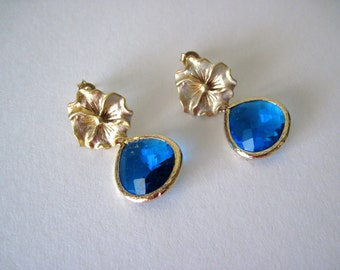 gold and carribean blue glass  earrings  cobalt blue