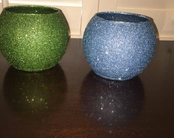 Silver glitter vase with purple ribbon wedding centerpiece for Glitter bowl