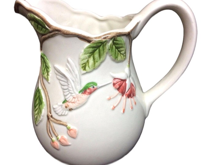 Otagiri Hummingbird Pitcher, Embossed Bird Design, Japan, Gift For Christmas, Bird Lover Gift, Gift For Her