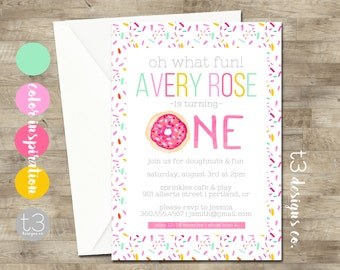 Donut birthday invitation, girl birthday invitation, doughnut party invitation, girl birthday invite, girl first birthday invitation, T19