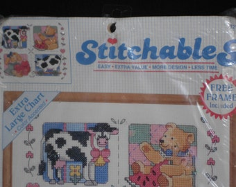 Stitchables country foursome counted crossstitch with frame included