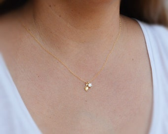 Gold necklace, dainty necklace, unique necklace, cubic zirconia necklace, delicate necklace,gift  4403