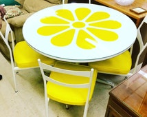 Mid century 1970's lemon fruit pop art kitchen table and chairs dining set