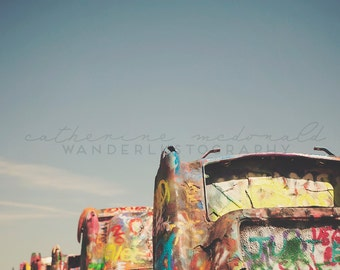 Cadillac Ranch II - FINE Art print - Photography, Texas, Route 66, Amarillo, Travel, Blue, Square, Kitschy Decor, Graffiti