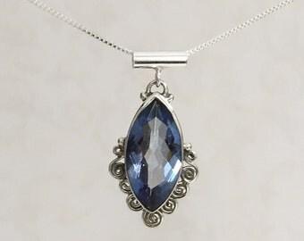 Blue Zircon Marquis Pendant