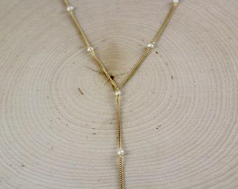 Mermaid Lariat-gold-cream-white-pearls-chic-elegant-gift-Y-necklace