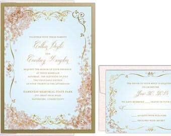 French Floral & Scroll Wedding Invitation // Parisian Invitation // Cherry Blossoms