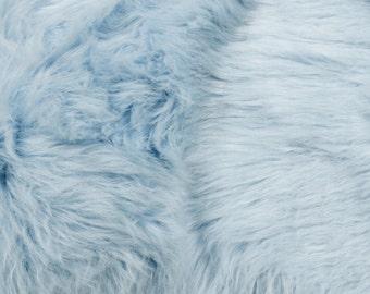 "Baby Blue 60"" Wide Shag Fur Fabric by the yard, Soft Fake Fur Fabric, Newborn Fur, Faux fur Coat, Vest, Throws, Pillows  - 1 Yard Style 5002"