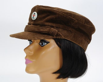 Vintage 1970s Brown Corduroy Fishman Cap / Nautical Sailor Style / Newsboy Hat / Slouch Hat