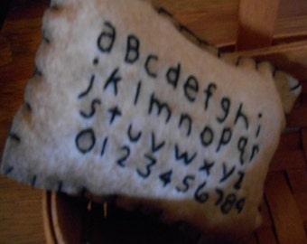 Alphabet wool felt blend bowl filler pillow
