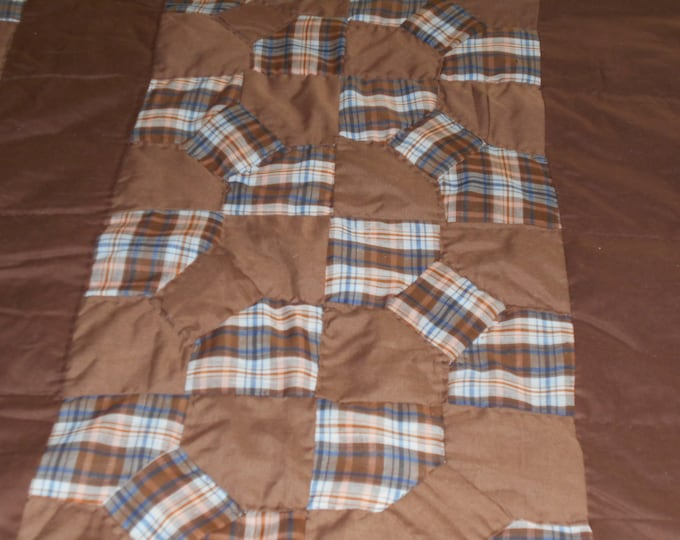 Brown Bowtie Child's Quilt, Lap Quilt, Bedding and Hand Quilted