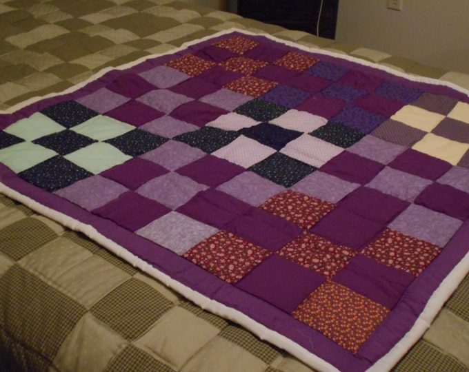 Five Patch Purple Block Baby Quilt , Modern Throw or Baby Lap Quilt Gift