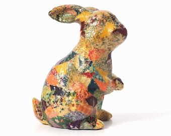 "Vintage Decoupage Ceramic Rabbit - 11.5 "" Tall"