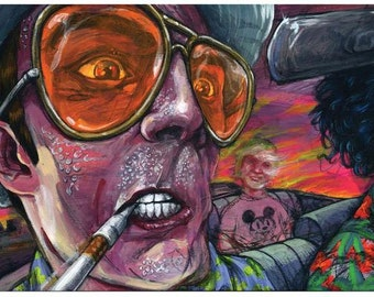 """Fear and Loathing Art Print - Hunter S Thompson Art Poster - """"Sweaty Peak"""" by Black Ink Art"""