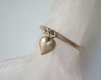 "Puffy Heart Charm Cha Cha Ring Size 5.25- 5.5 Vintage Sterling Silver-Denmark Designer Hans Henrick Nygaard ""HHN"" Hallmark-Womens Jewelry"