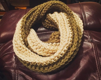 Olive and cream cowl