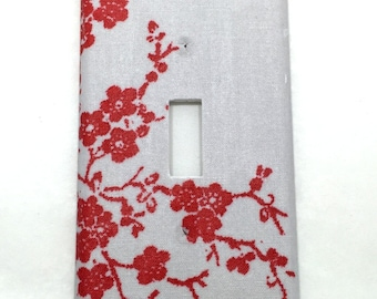 Red and Grey Flowers Light Switch Plate Cover / Outlet Cover / Home Decor / Baby Shower Gift / Nursery Decor / Kid's Room / Housewarming