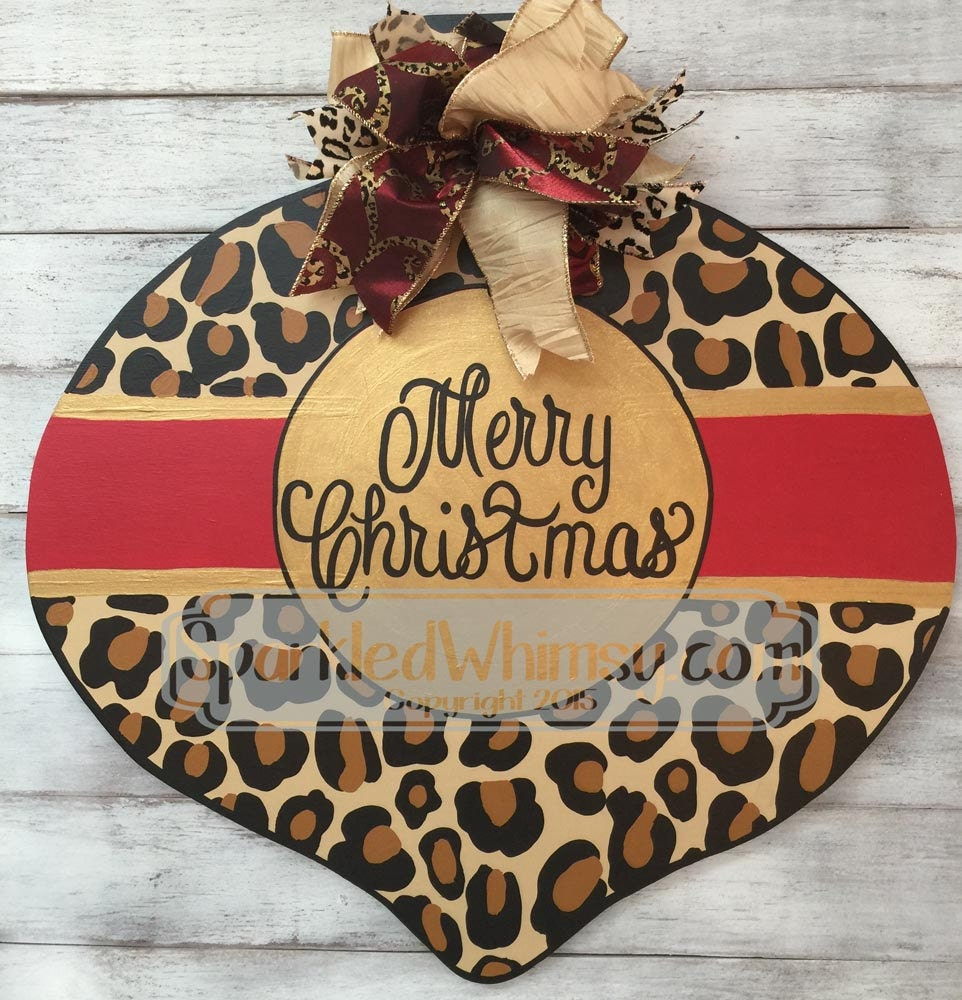 Christmas door hanger leopard print ornament