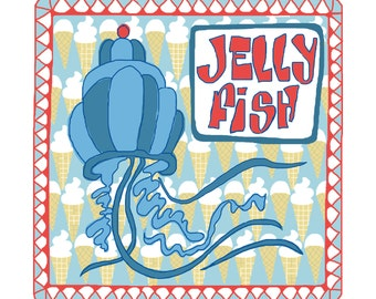 "Fun fishy card with ""Jelly fish"" design"