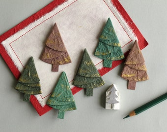 6 Paper Christmas Trees - Die cut green & brown pine trees - Made of Mulberry Paper and gold paint - Great for cardmaking and decoration