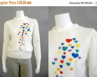 50% off SALE Vintage heart sweater /sweetheart jumper / 1970s valentine sweater