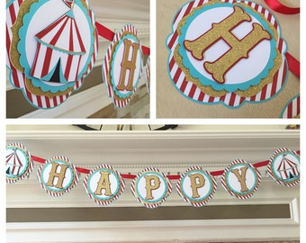 Circus Birthday Banner, Vintage Carnival Banner
