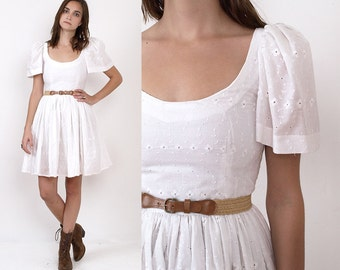 80's White EYELET Cotton Embroidered Flutter PUFF Sleeves BabyDoll Full Skirt Vintage Mini Dress XS