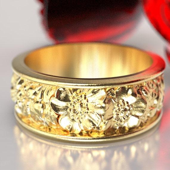 Rose Bouquet Ring, Floral Ring, Rose Wedding Band, 10K 14K 18K Gold Platinum Palladium Rose, Nature Inspired Wedding Ring, Custom Size 5020