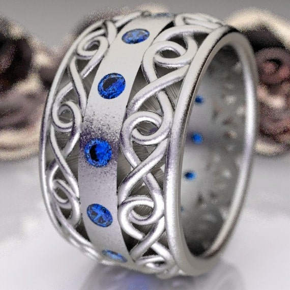 Celtic Wedding Ring With Blue Sapphire and Cut-Through Infinity Symbol Design in Sterling Silver, Made in Your Size CR-510