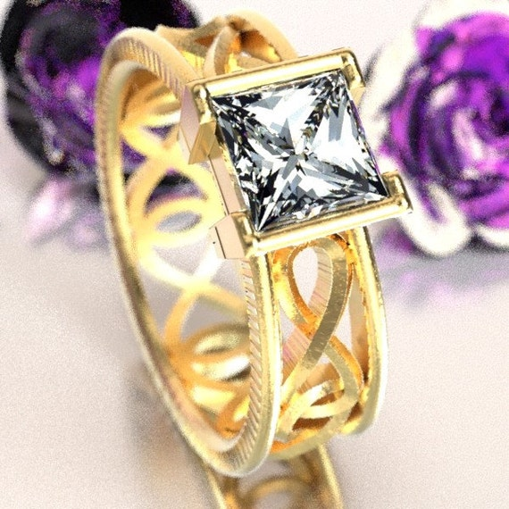Gold Celtic Moissanite Princess Cut Ring With Infinity Symbol Design in 10K 14K 18K or Palladium, Made in Your Size Cr-1028