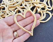 Large Organic Heart Shape Loop Link Pendant Smooth Frame 22k Matte Gold Plated Turkish Jewelry Making Supplies Findings Component - 1pc