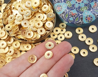 15 Gold Heishi Hammered Disc Statement Spacer Beads 22k Matte Gold Plated Turkish Jewelry Making Supplies Findings Components