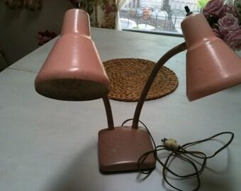Vintage Retro PINK Double Gooseneck Desk Lamp - Mid Century