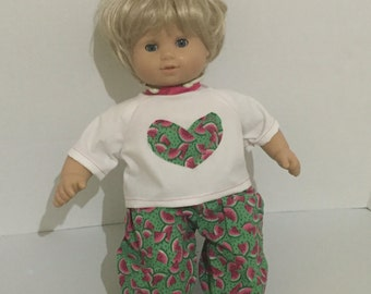 Bitty Baby - Bitty Twins - Doll Outfit - Top and Pants for Doll - 15 Inch Doll Clothes - Watermelon