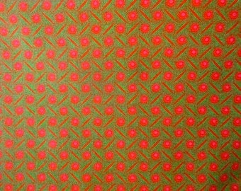 Orange Fabric with Pink and Green pattern - 100% cotton Shweshwe - Made in South Africa