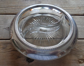 Vintage Round Glass & Silver Rimmed Divided Dish, 1950's - Vintage Relish Dish - Glass Serving Dish - Vintage Glass Dish