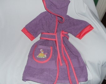 HOODED  TERRY BATHROBE Purple w/coral colored trim Small
