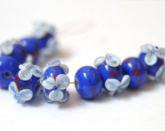 Blue Flower Beads Blue Glass Bead Flower Earrings Lampwork Bead Cobalt Blue Flower Jewelry Findings for Jewelry Makers Two Tone Blue Flower